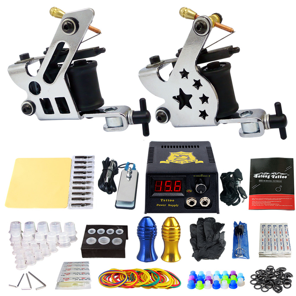 Complete Tattoo Machine Kit Set 2 Coils Guns Sets Grips Body Arts Supplies Needles Tips Tattoo Beginner Kits TK202-22 usa dispatch complete beginner tattoo kit 3 machines guns lcd power needles tips grips set equipment supplies