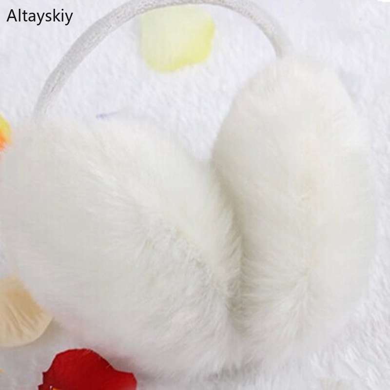 Earmuffs Women Solid Couple Harajuku Streetwear Rabbit Faux Fur Sweet Womens Furry Kawaii Earmuff Korean Style All-match Simple