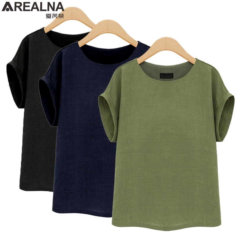 AREALNA Summer Fashion shirt women tops Short Sleeves Female Blouses Casual Loose office blouse Blusas femininas Plus Size 5XL 3