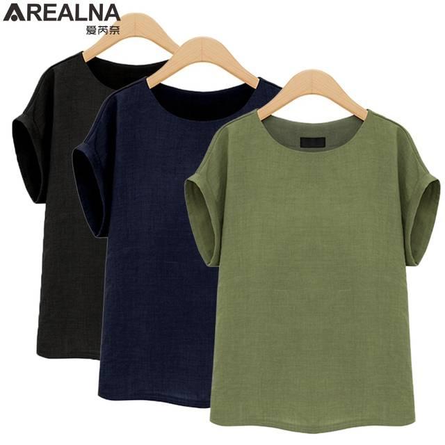 AREALNA camisa Moda Verão mulheres tops Mangas Curtas Feminino Blusas  Soltas Casual escritório blusa Blusas femininas daf34c9a275f0
