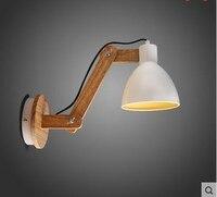 Лофт Дерево Современный светодио дный бра свет с регулируемым руку рядом с Светильник Бра E27 белая голова лестницы лампа прикроватная ночни