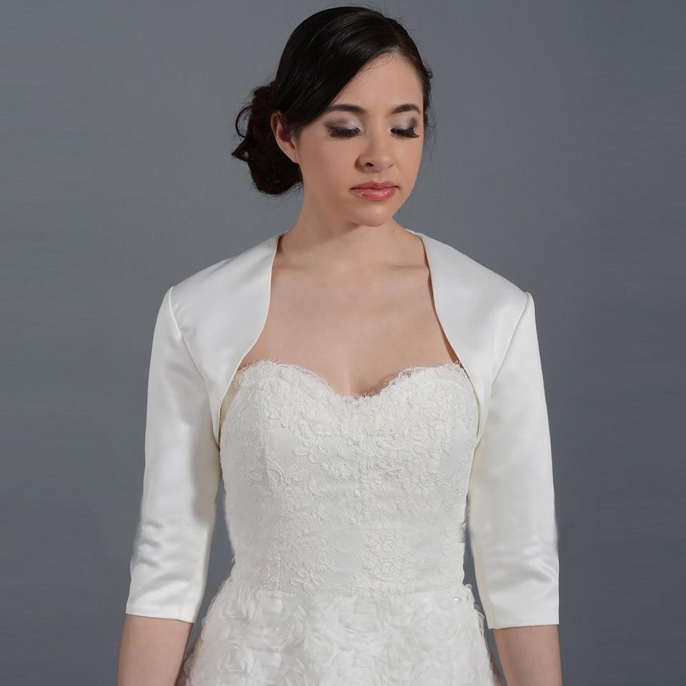 2016-New-White-Ivory-Satin-Fashion-Half-Sleeve-Wedding-Jacket-Custom-Made-Bolero-Wedding-Accessories-Cape