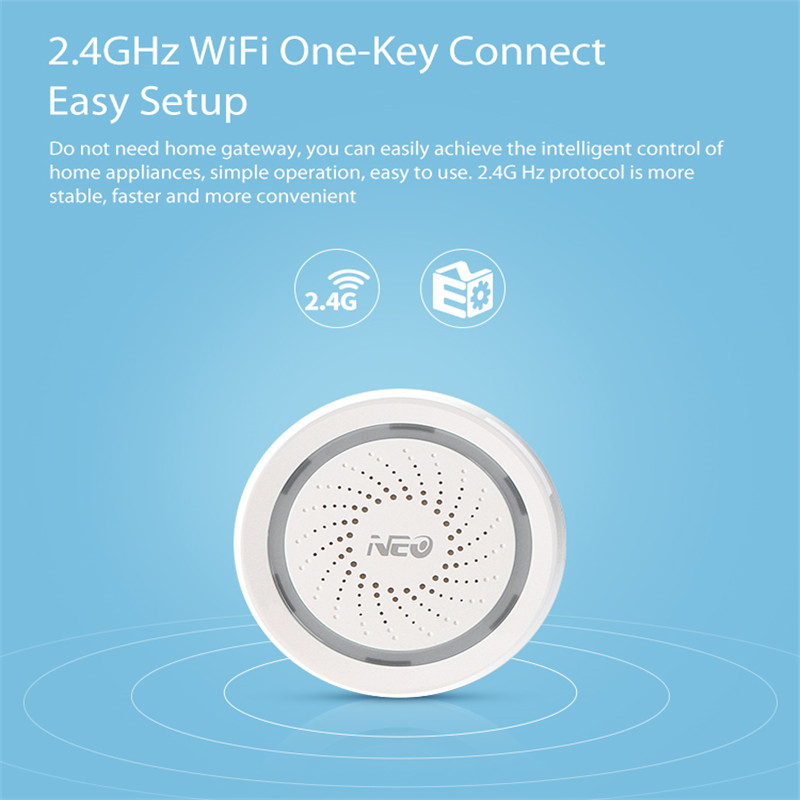 Smart Home Neo Coolcam Wifi Siren Alarm Sensor And App Notification Alerts,no Hub Required Plug And Play,compatiab Alexa Echo Google Home Crazy Price Smart Electronics
