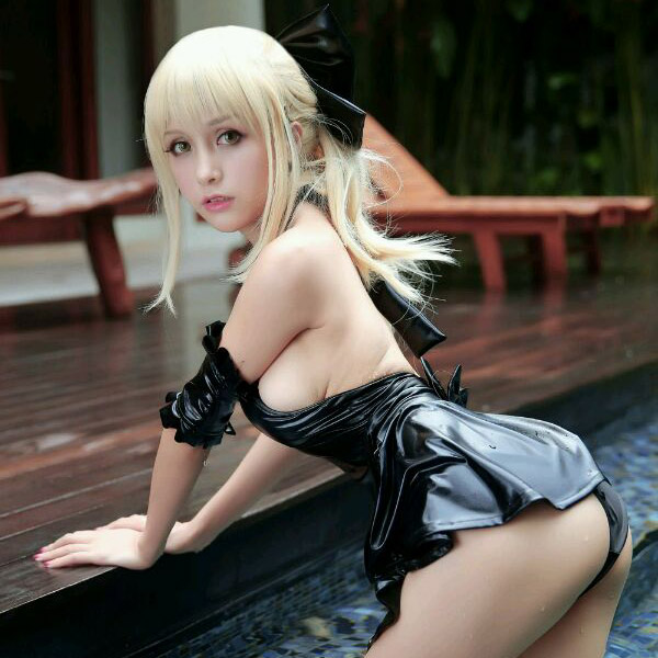Anime Saber Cosplay Swimsuit Summer Swimming Costume Black Swimwear Su Ku Water One-piece Swimsuit Saber My Lord Sexy for Women