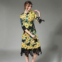 2018 Kadınlar Yeni Aplikler Elbise Sonbahar Sarı Ayçiçeği Baskılı Robe Femme Petal Kollu Roupa O-Boyun Dantel Patchwork Elbiseler N611A