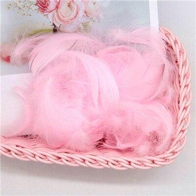 Разноцветные, 100 шт, гусиные перья, 8-12 см, гусиные перья, сценический шлейф, перья, промытый гусиный пух, пушистый шлейф для свадьбы, 3-4 дюйма - Цвет: pink