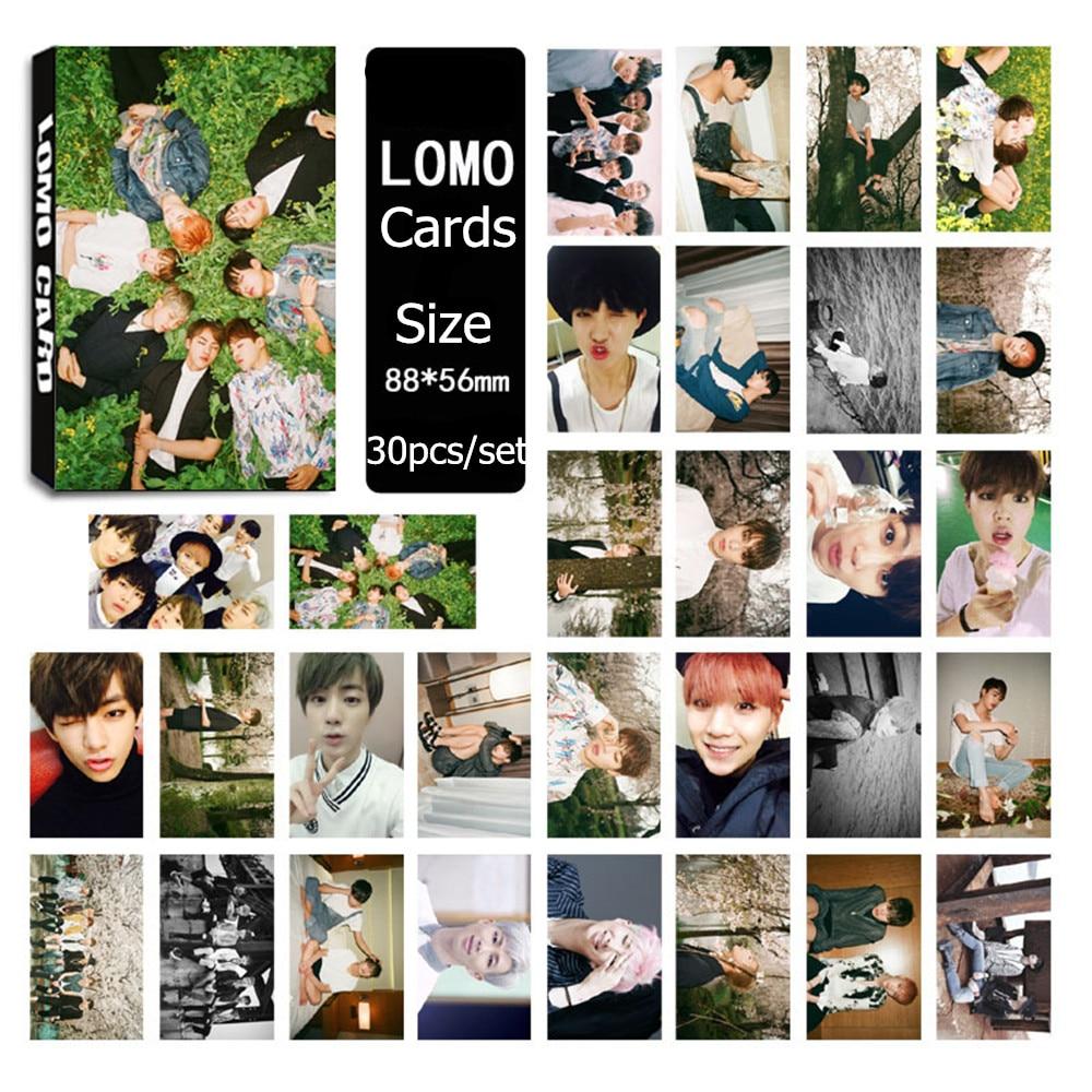 HOT!30 Pcs set BTS Bangtan boys Jungkook jimin jin v Rap 2017 LOMOCARDS Cards LOMO Photo Card Photocard