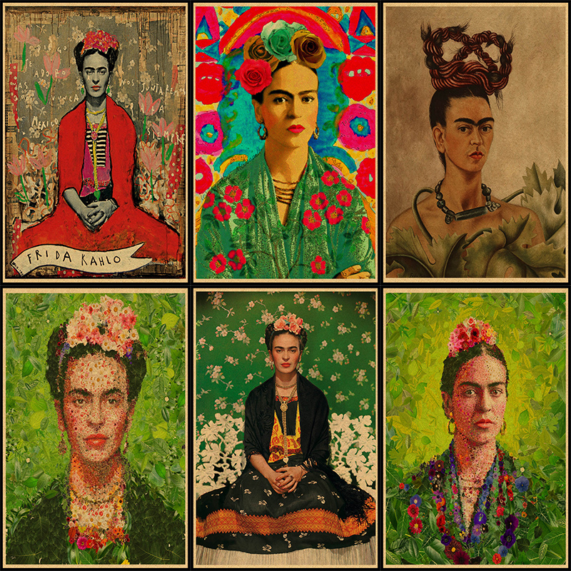 Frida Kahlo Self Portrait kraft paper Art Print Painting Poster Wall Pictures For Room Decoration Home Decor No Frame