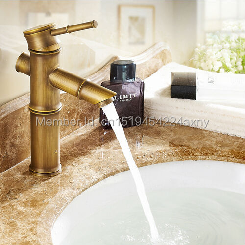 Free Shipping 8 Bamboo Shape Single Handle Antique Bronze Bathroom Basin Sink Faucet Waterfall Spout Vanity Mixer Tap GI36