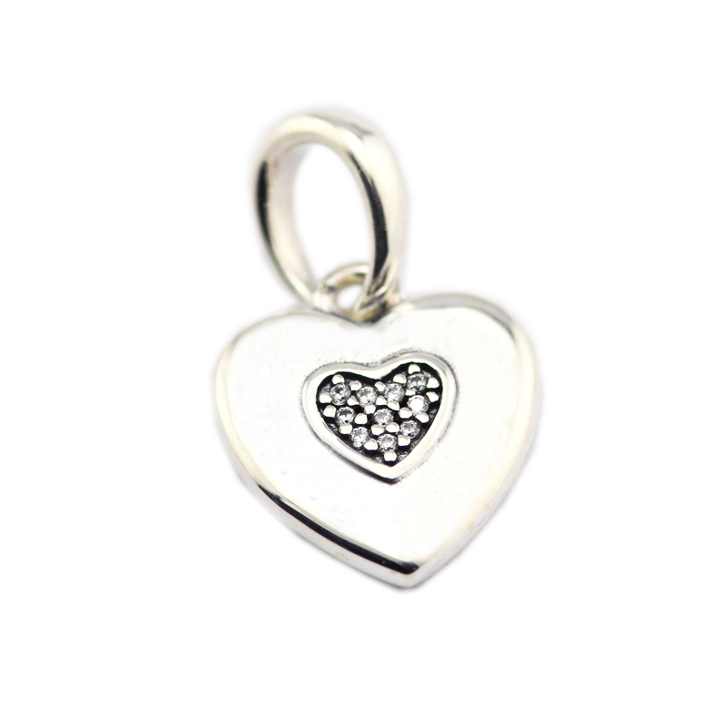 FANDOLA DIY Beads Jewellery Fit Beads Bracelet 925 Sterling Silver Pendant CZ Heart Charms Beads for Jewelry Making Berloque