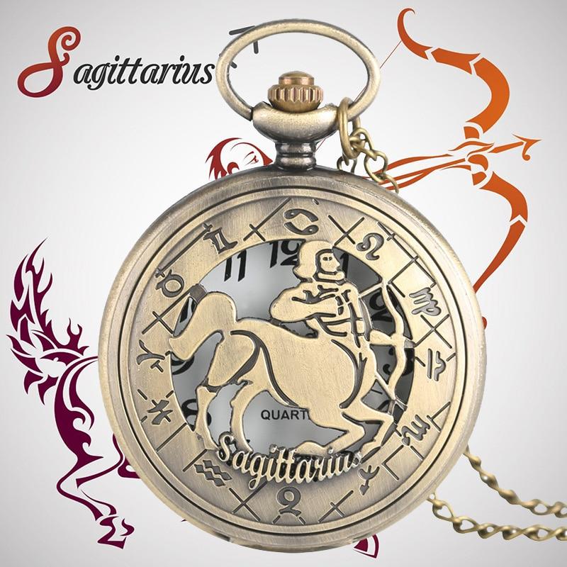 Charm Zodiac Freedom Sagittarius Pendant Necklace Gifts For Friend Men Women Ladies Quarzt Nurse Pocket Watch Montre Infirmiere