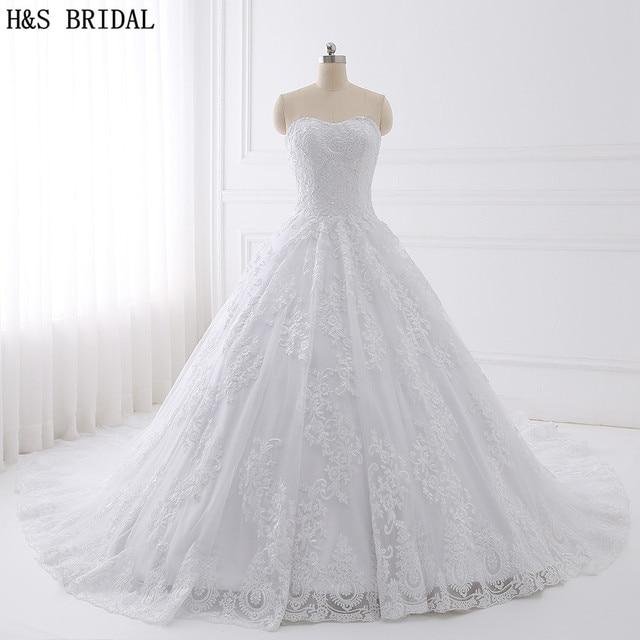 H&S BRIDAL Ball Gown Lace Wedding Dress Real Photo Wedding Dresses Vestido De Novias Sweetheart Wedding Gown White Bridal Dress