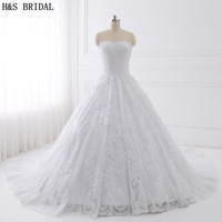 H S BRIDAL Luxury Cathedral Train Ball Gown Embroidered Lace Wedding Dresses 2017 Real Photo Wedding