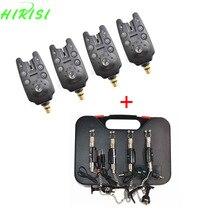 Carp fishing equipment 4pcs fishing bite alarms and 4pcs fishing swingers in black plastic case