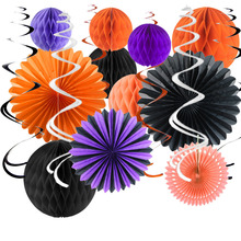 Fanstic Halloween Decoration Dangling Swirls Assorted Paper Pinwheels Honeycomb Balls for Party Birthday Stage Setting