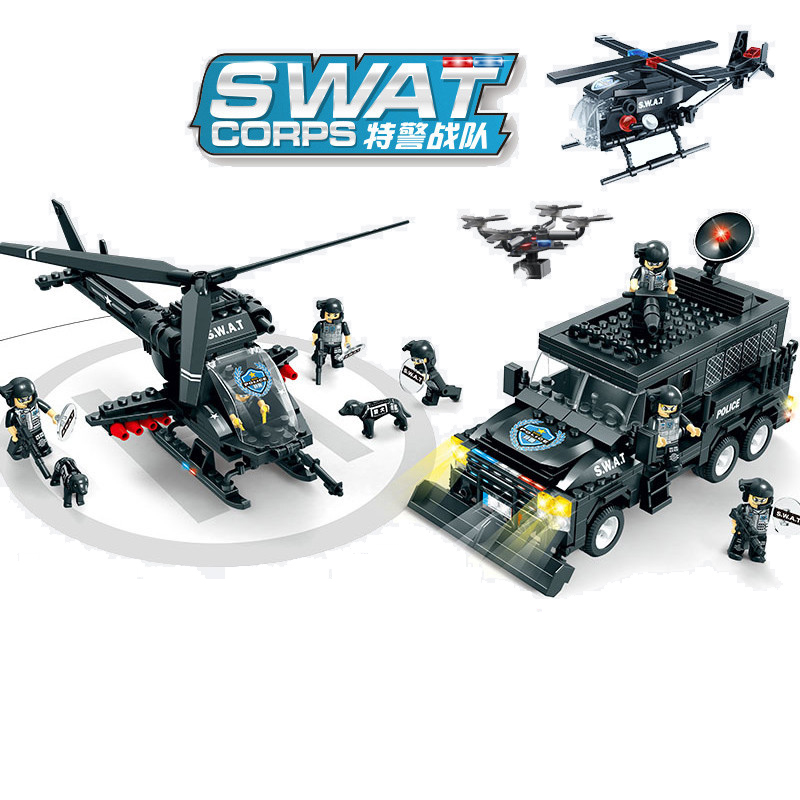 716pcs Children s educational building blocks toy Compatible city SWAT series Apache Tigers riot squad DIY