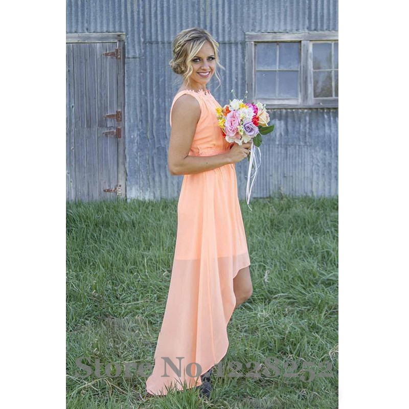 2017 Cheap Peach Lace Chiffon Bridesmaids Dresses Scoop High Low