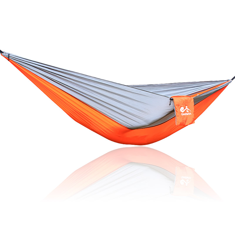 Gray Orange Gray Nylon Parachute Camping Hammock 260*140cm Loading 300kg