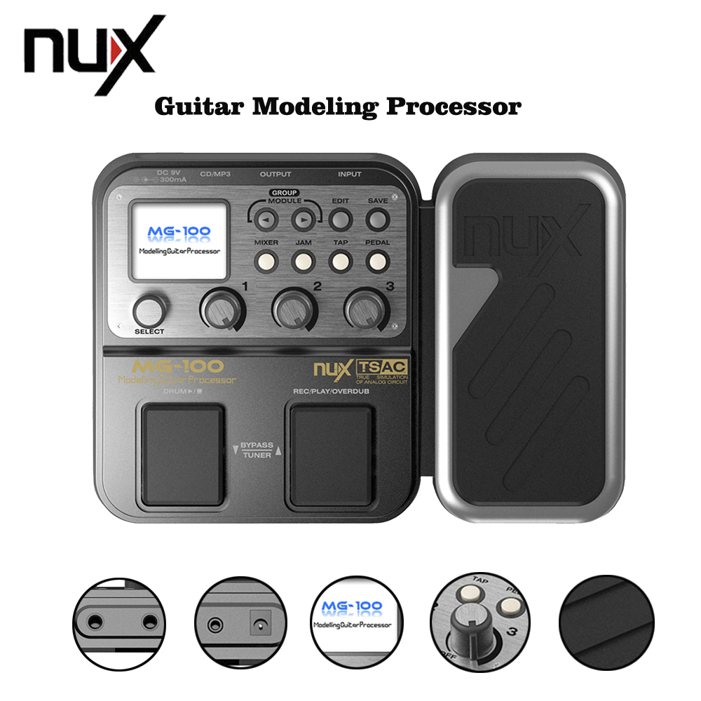 NUX MG-100 Multi-function Modeling Guitar Processor Effect Pedal Drum Tuner Recorder With 58 Effect Models 72 Preset With Power nux mg 20 electric guitar multi effects pedal guitarra modeling processor with drum machine eu plug