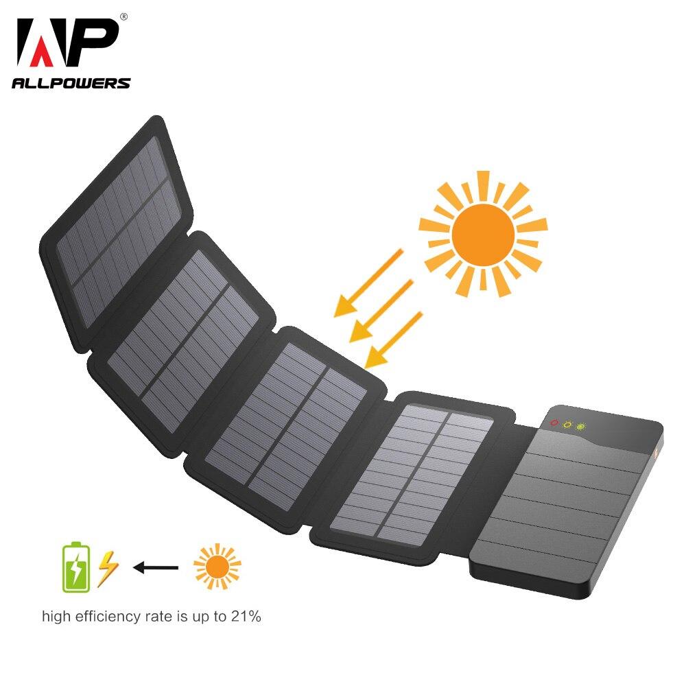 ALLPOWERS 10000 mAh batterie portable solaire panneau solaire chargeur de batterie externe de secours pour iPhone Samsung Huawei xiaomi en plein air