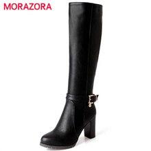 MORAZORA Botas de piel sintética suave con tacón alto hasta la rodilla para mujer, botas de moto con hebilla, para otoño e invierno, gran oferta
