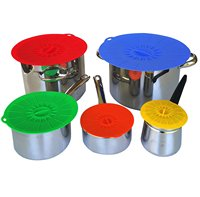 5pcs/Set Silicone Lids Suction Food Saver Covers Silicone Cover Lids Fresh Cover Suction Lids For Pans Bowls Cups Containers New