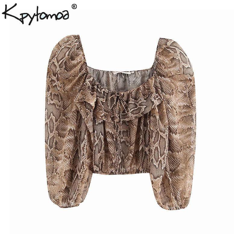 Vintage Sexy Snake Imprimir Ruffled Curto Tops Mulheres Blusas Da Moda 2019 Colarinho Quadrado Padrão Animal Camisas Casual Blusas Mujer