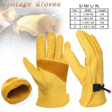 1Pair Vintage Leather Yellow Motorcycle Motorbike Gloves Anti-slip Bicycle Sport Work Full Finger Gloves S M L XL