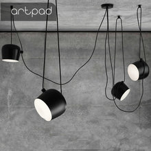 Artpad Industrial Spider Pendant Light for Diving room Restaurants Kitchen Pendant lights White Black E27 LED Hanging Lamp artpad white black modern design metal pendant lights for dining room kitchen e27 base bird cage retro pendant lamp bar light