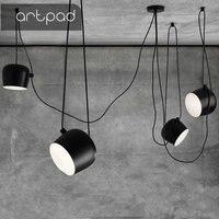 Artpad Industrial Spider Pendant Light for Diving room Restaurants Kitchen Pendant lights White Black E27 LED Hanging Lamp