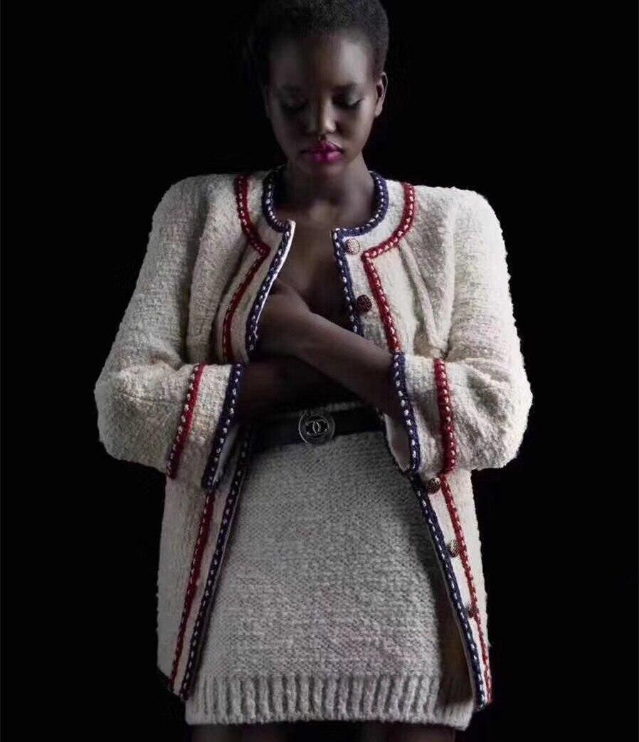 Luxury White Stripe Tweed Jacket 2018 Winter Women Long Sleeve O Neck Hit Color Elegant Overcoat