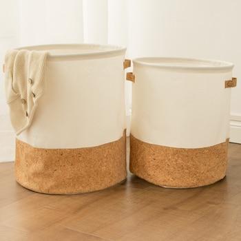 Tyvek laundry basket canvas Toy Storage Box Splice flexible veneer brown paper handbag burlywood Dirty clothes organizer Bin