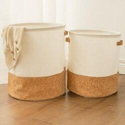 Tyvek lavanderia cesta lona brinquedo caixa de armazenamento splice verniz flexível marrom bolsa de papel burlywood roupas sujas organizador bin