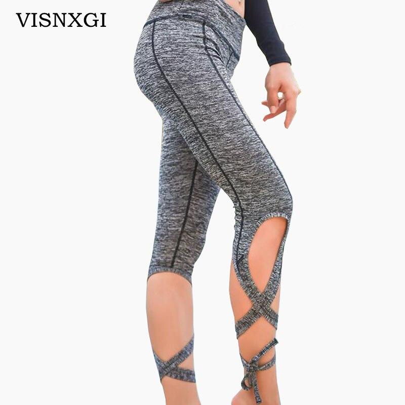 VISNXGI 2018 Summer Black Gray Bandage Cross Pants Breathable Knitted Woman Ballerina Pants High Waist Ballet Dance Trousers