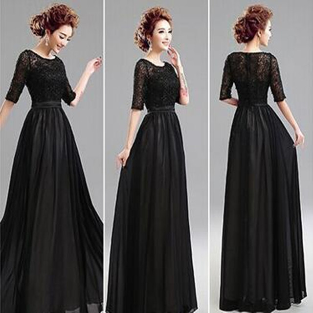 a61e7c81cd2a New Fashion A-Line Elegant Black Beaded Lace Long Evening Dress 2016 Women  Formal Dress Party Dress For Events Robe Soiree