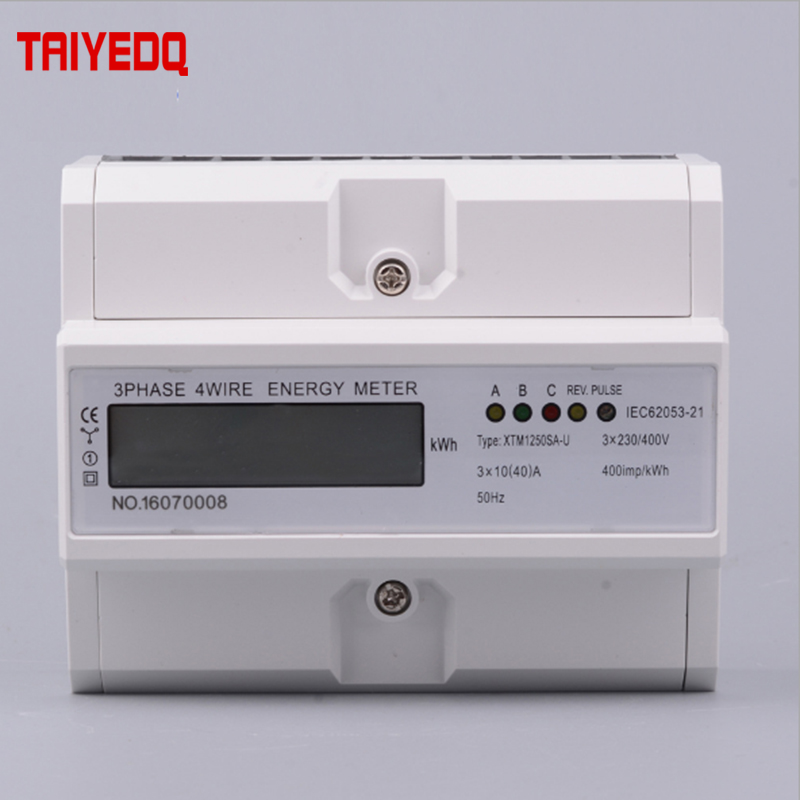 Qualified 3 Phase 4 Wire Electric Digital Kwh Energy Meter Lcd 3 X 20 80a/3*10 40a Three Four Wire Din-rail Kwh Meter 230v/400v
