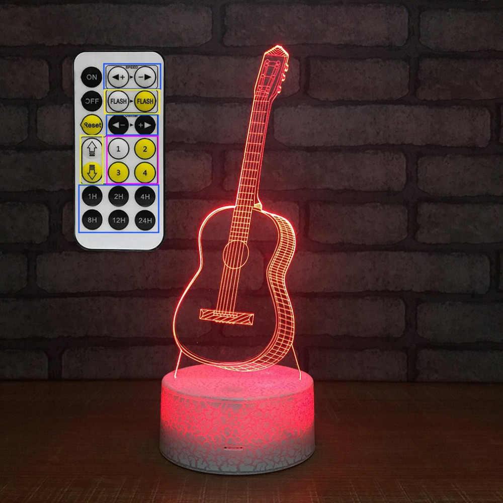 Сенсорный переключатель для гитары дизайн Светильник настольный 3D Акриловый