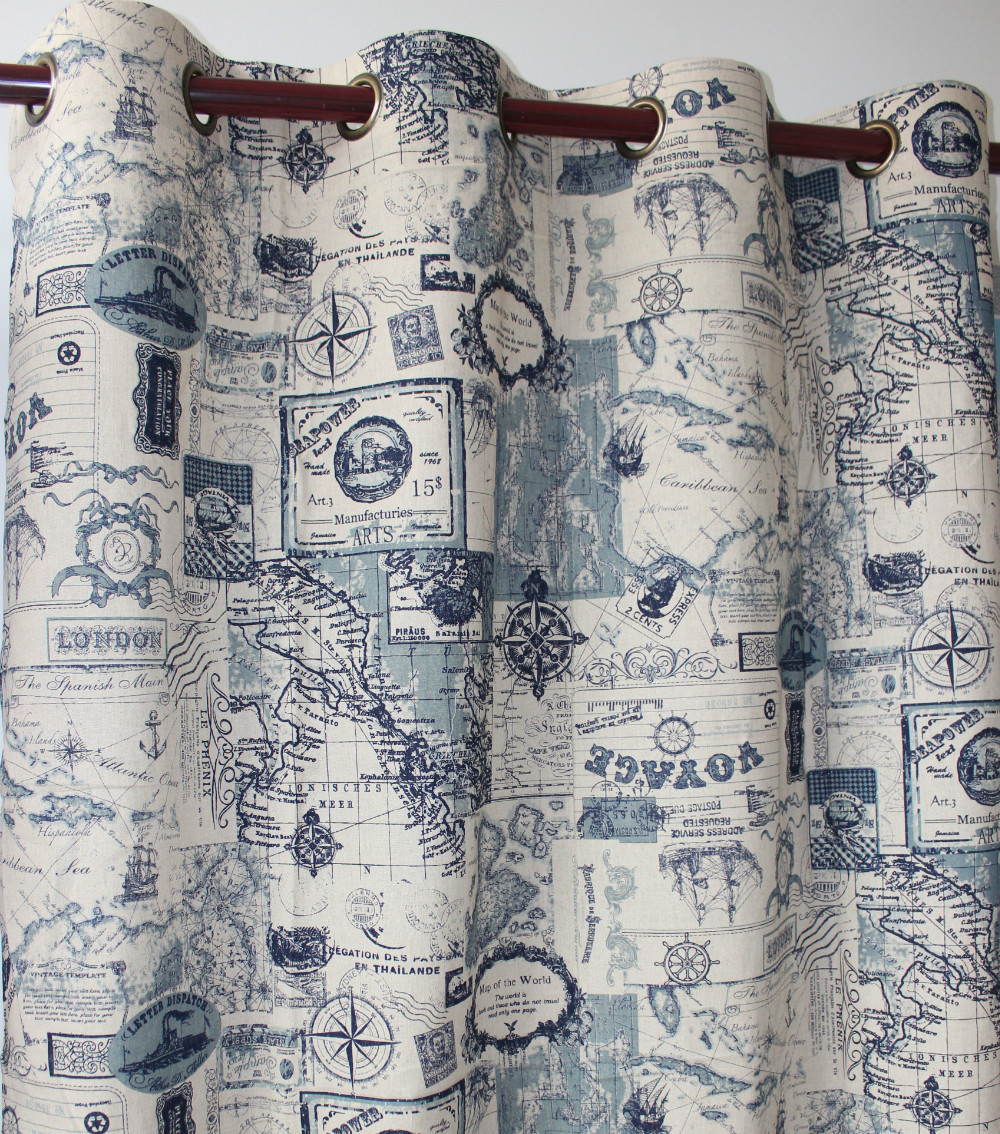 VEZO HOME New Map Cotton Linen Ready Window Curtain Panel Door Kitchen Bedroom Living Room