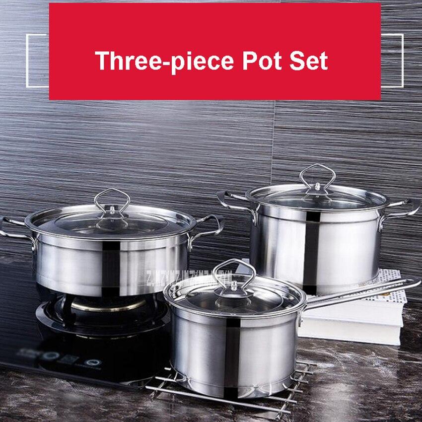 CJ-011YBRS3 ménage 3 pièces batterie de cuisine en acier inoxydable marmite haute qualité outils de cuisine fond Composite casseroles