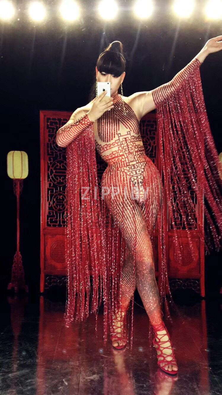 Etapa Rendimiento Traje Ropa Club Borla Femenina Cristales Nocturno Danza Mono De Rojo Cantante Moda Red La Ds Largo Brillan pqgRw