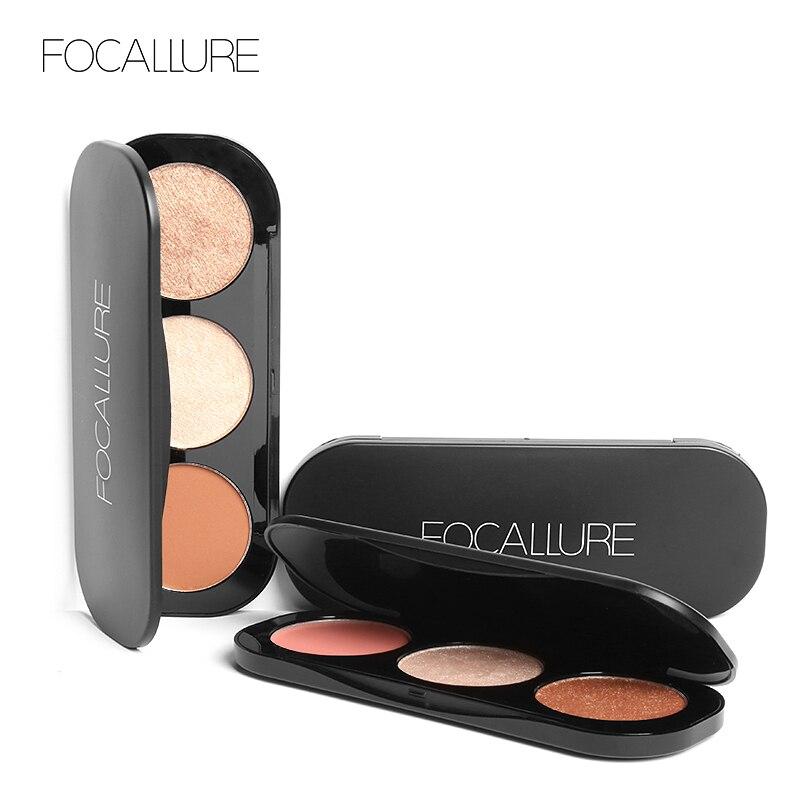 Focallure 3 Colors Face Blusher Blush Makeup Brushes Palette Powder Bronzer Cosmetics Make Up Set Maquiagem make up factory blusher румяна