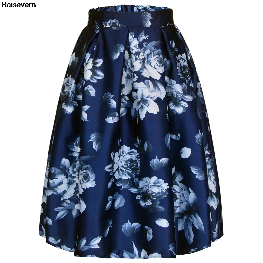 Detail Feedback Questions about A Line Skirt Women Autumn Summer Flower  Floral Print 50s 60s Retro Rockabilly Vintage Skirts 2018 High Wasit Midi  Pleated ... 5189a5a271ff