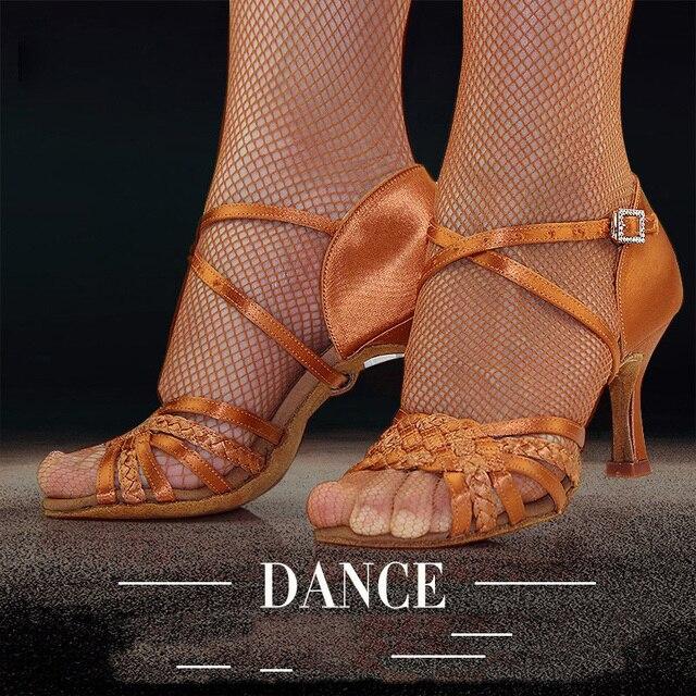 מרצע תחתון רך למבוגרים אישה נעלי ריקוד לטיני עקב גבוה נעליים לטיניות סלסה נעלי ריקוד כיכר BD 2360-B מיובא אמיתי סאטן