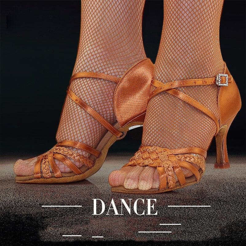 Chaussures de danse latine femme adulte fond souple Awl talon haut Salsa chaussures de danse carrées BD chaussures latines véritable 2360-B Satin importé