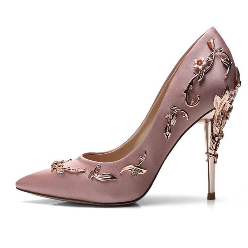 559fe52116 Baimier 2018 Luxury Brand Women Pumps Flower Heel Wedding Shoes Women  Elegant Silk High Heels Women