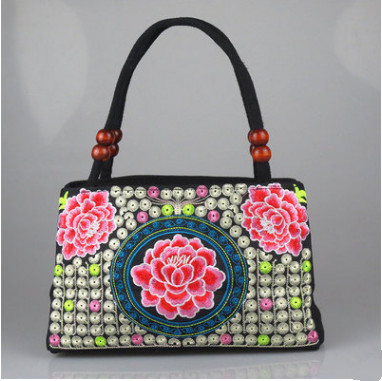 New Fashion Embroidery Women Shopping handbags!Hot Floral Embroidered Lady Top-handle bags Top National handbag Lady carrier