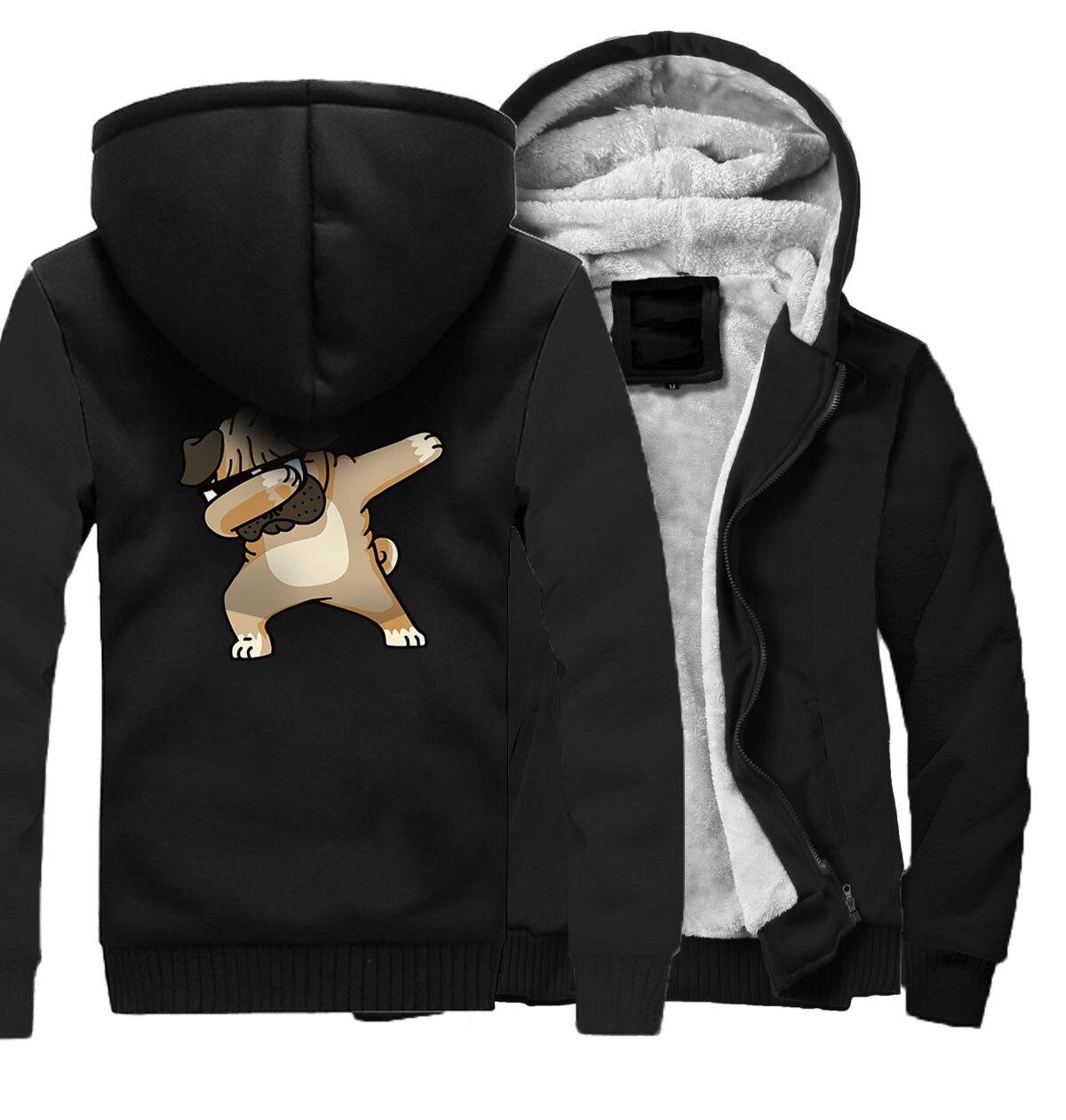 2018 automne hiver marque vêtements manteau Streetwear à capuche Dabbing Pug imprimer sweat hommes Harajuku hommes vestes Hip Hop Hoodies