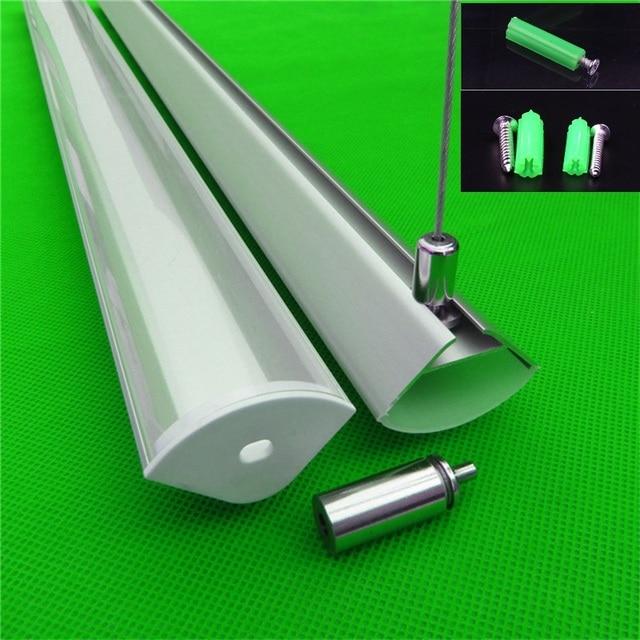 5 30 stks/partij 40 inch 1 m 45 graden hoek hanger aluminium profiel voor dubbele rij led strip, milky/transparant deksel voor 20mm pcb