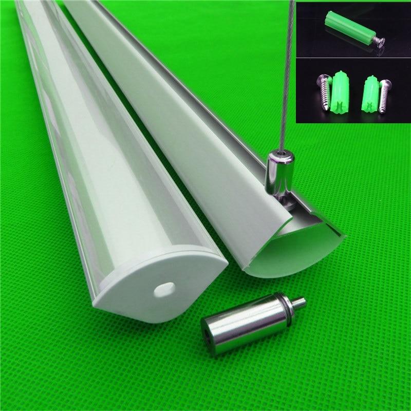 5-30pcs/lot 40inch 1m 45 Degree Corner Pendant Aluminum Profile For Double Row Led Strip,milky/transparent Cover For 20mm Pcb