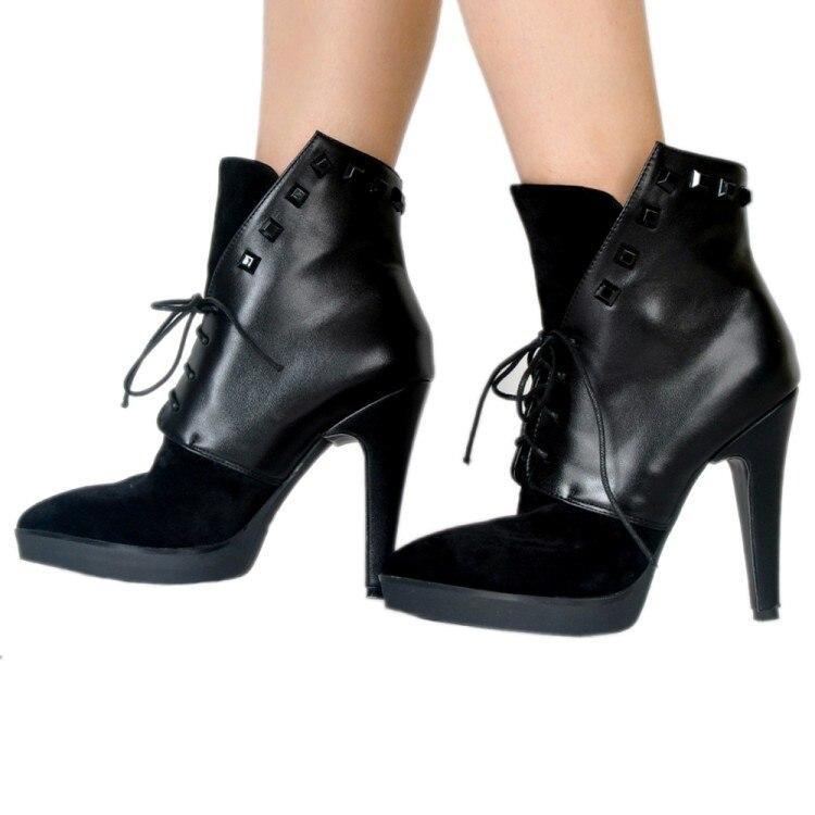 Black D0009 Occasionnel De Noir Cheville Nous Spike Charme Bottes Hiver 15 Chaud Talons Rond Chaussures Bout 4 Taille Élégant Yifsion Femmes OCwRqxHO